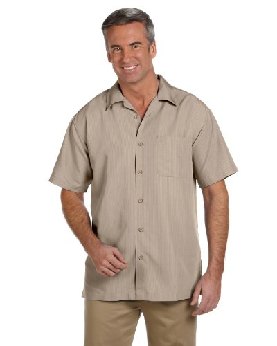 arbados Textured Camp Shirt-Khaki-X-Large (Khaki Mens Shirt)