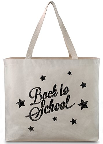 Reusable Canvas Bag - Tote Bag with Printed School Theme. Double Stitched with Sturdy Shoulder Straps to Handle School Books and Supplies. Made in the USA (Back to ()