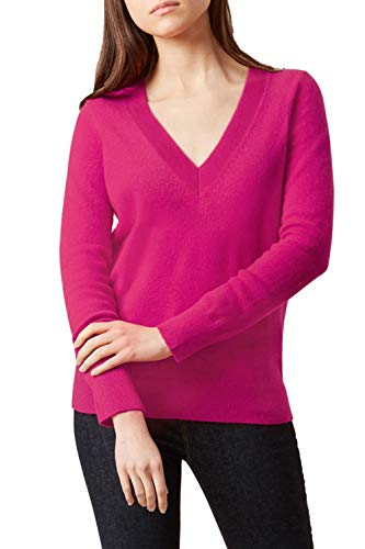 ALBIZIA Women's V-Neck Cashmere Ribbed Knited Pullover Sweaters S Rose Red ()