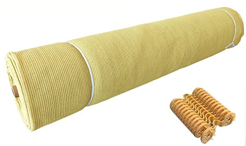 Shatex Sunblock Shade Cloth 90% Wheat 6x8ft with Free Fabric Clips,for Plant Cover, Greenhouse, Barn or Kennel, Pool, Pergola or Carport Cut edge cloth