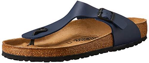 (Birkenstock Unisex Adults Gizeh Open Toe Summer T-Bar Birko Flor Sandals - Blue - W5/M3)
