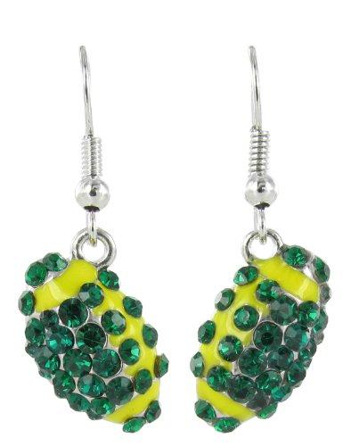Mini Pavé Football Rhinestone Fish Hook Earrings - Dark Green Crystals with Yellow Enamel Stripes