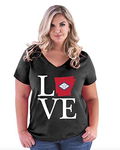 NIB Love Arkansas State Flag Traveler`s Gift Womens Curvy Plus Size V-Neck Tee (18/20B) (State University Arkansas Golf)