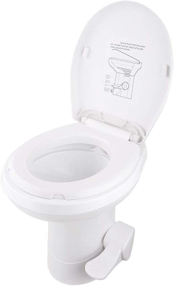 "AW Gravity Flush Toilet RV Toilet Foot Pedal Flush HDPE 20"" High Profile Motorhome Caravan Travel"