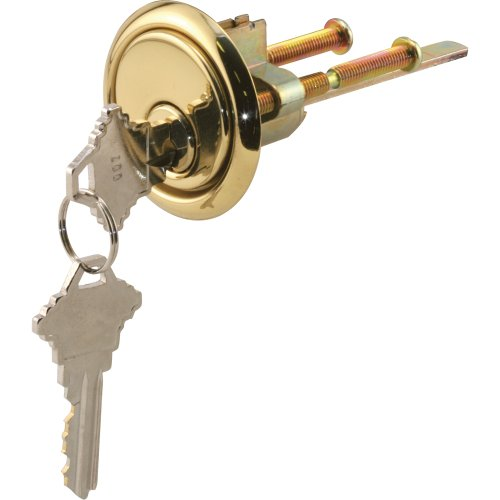 Prime-Line Products GD 52139 Rim Cylinder Lock with Trim Ring, 5 Pin Lock and Solid Brass Face (5 Pin Tumbler Cylinder)