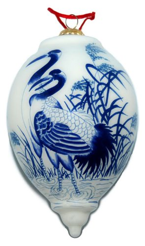 Hand Painted Glass Ornament, Teardrop Shape, Blue and White Cranes CO-1002