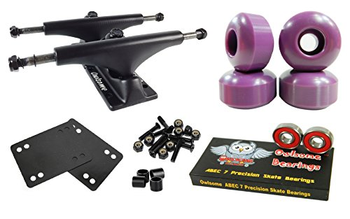 (Owlsome 5.0 Black Aluminum Skateboard Trucks w/52mm Wheels Combo Set (Purple))