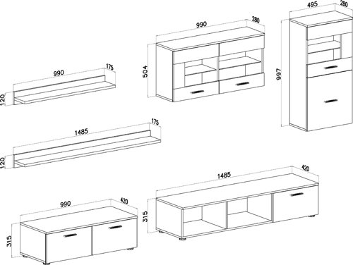 Home Innovation- Mobile soggiorno - Parete da soggiorno con LED, finiture  bianco laccato e wengé, dimensioni: 250 x 190 x 42 cm di profondità