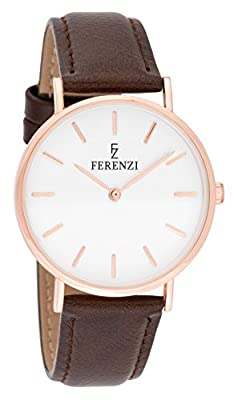Ferenzi Women's - FZ18701 - Classic Rose Gold-Tone and Brown Leather Watch