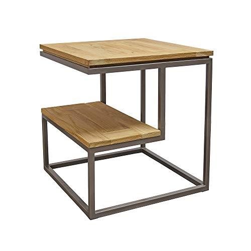 Asta Simplicity Solid Teak and Iron 2-Tier Side Table, TI-319 (Teak Frame Plantation)