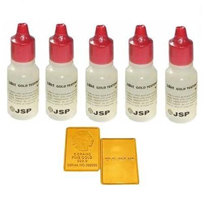 5 Bottles 18k Gold Test Testing Lot Tester Acid Detect Scrap Metal Kit Jewelry + Fake Gold Bar Sample