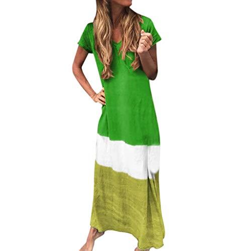 QQ1980s Women's Summer Long Skirt Beach V-Neck Tie-Dyed Splicing Vintage Dress Short Sleeve Maxi Sundress Plus Size (Dress Lucky Sun Brand)