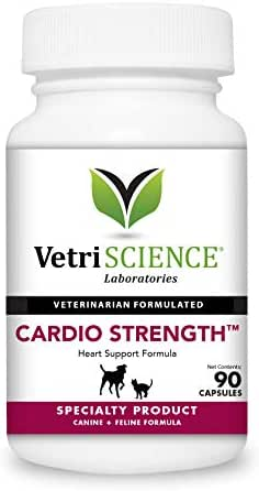 VetriScience Laboratories - Cardio Strength, Cardiovascular and Circulatory Support Supplement for Dogs and Cats, 90 Capsules