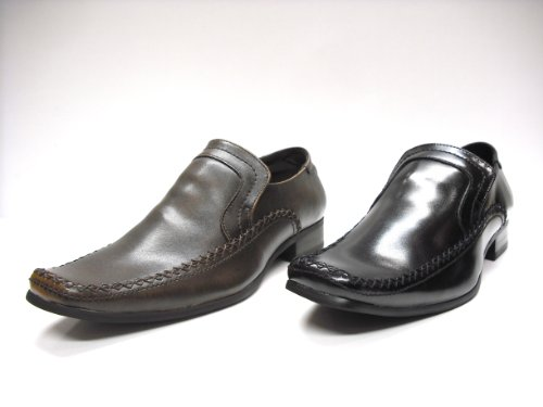 une Slip en Cuir Marron Finition Chaussures Noir Hommes On Smart avec Noir et Brillante 5v0w1qH