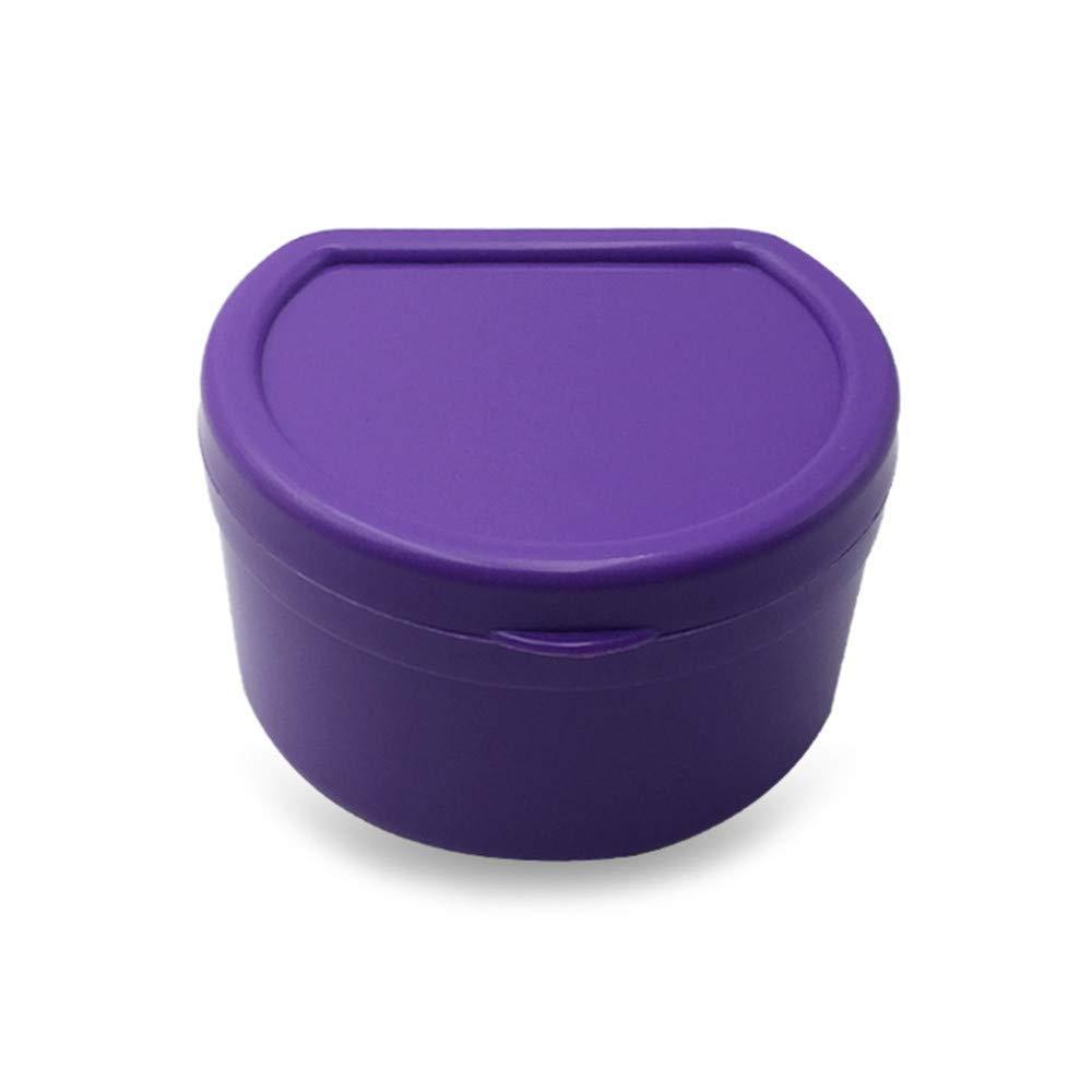 Yu2d  Denture Bath Box Case Dental False Teeth Storage Box with Hanging Net Container(Purple)