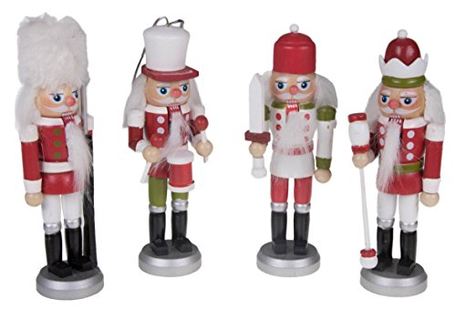 Clever Creations Nutcracker King Christmas Ornament Set Red, Green and White Scheme | 4 Pack | Festive Holiday Décor | Lightweight and Shatter Resistant | 100% Wood | Hangers Included | 5.5