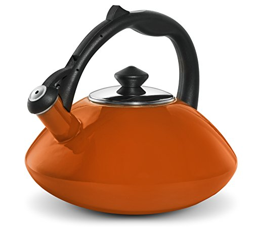 Osaka, Enamel Coated Stainless Steel Kettle For Tea, Coffee And More - Quick Boil, Rust-Resistant, Stovetop Teapot With Heat-Resistant Handle - Large 3 Quart Capacity Teakettle (Orange)