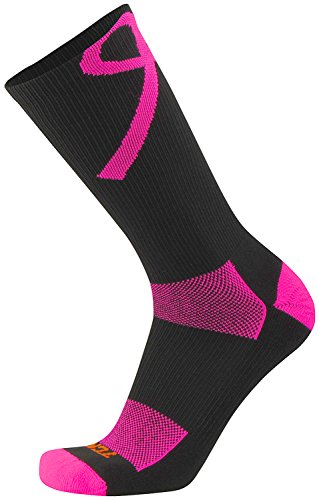 TCK Sports Breast Cancer Awareness Ribbon Crew Socks, Black/Hot Pink, ()