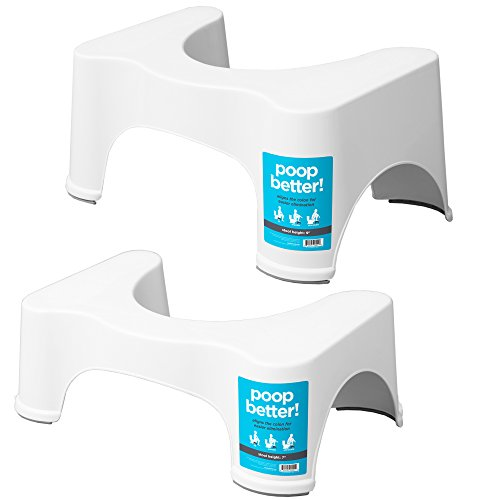 (Squatty Potty The Original Bathroom Toilet Stool, 7 inch and 9 inch, White, (Pack of Two))
