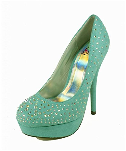 Lustacious Womens Strass Piattaforma Stiletto Tacco Alto Slip On Dress Pompe Turchese Faux Suede