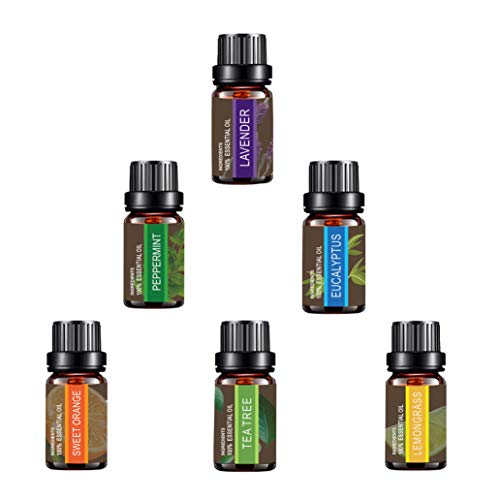 Essential Oils Set of TOP6,Besstoil Therapeutic Grade 100% Pure Aromatherapy Diffuser Oils Gift Set(Lavender, Tea Tree, Eucalyptus, Lemongrass, Peppermint, Sweet Orange),10ml/6 Count