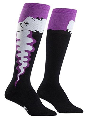 Price comparison product image Bride of Frankenstein Knee High Tube Socks (Black / Purple,  5-10)