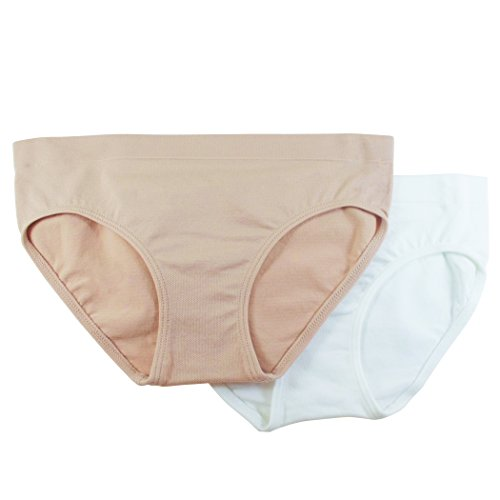 (Fruit of the Loom Big Girls' Seamless  Bikini Brief, Sand/White, Small(Pack of 2))