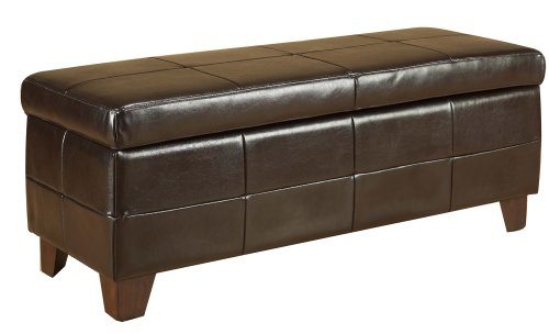 Modus Furniture ML0893C Upholstered Milano Storage Bench, Chocolate Leather