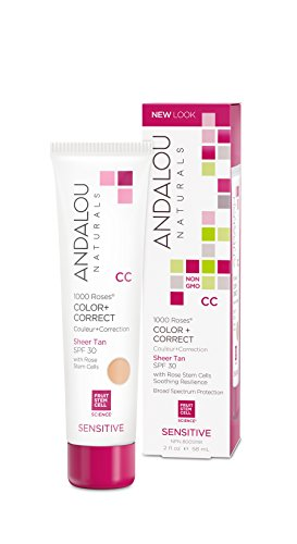 Andalou Naturals 1000 Roses CC Color + Correct SPF 30, Sheer Tan, 2 Ounces