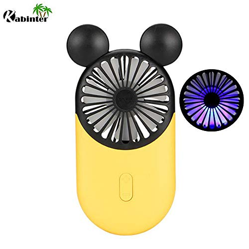 (Kbinter Cute Personal Mini Fan, Handheld & Portable USB Rechargeable Fan with Beautiful LED Light, 3 Adjustable Speeds, Portable Holder, for Indoor Or Outdoor Activities, Cute Mouse (Yellow))