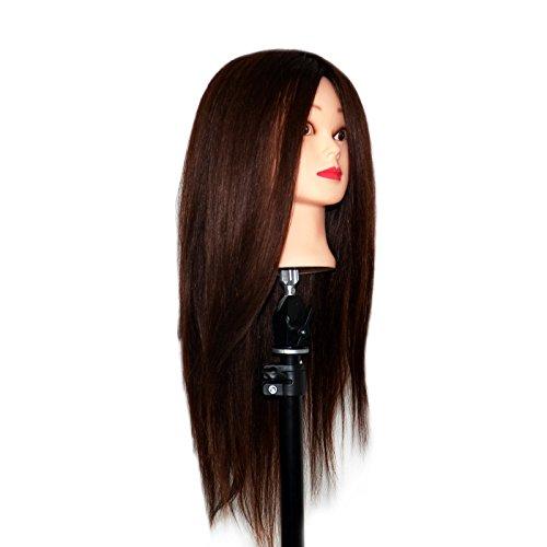 EMEDA Mannequin Head Human Hair Styling Training Head Manikin Cosmetology Doll Head with Human Hair for Makeup Teaching (Dark Brown)