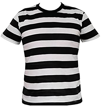 Rock Star Academy Black and White Striped T-Shirt: Amazon.co.uk ...