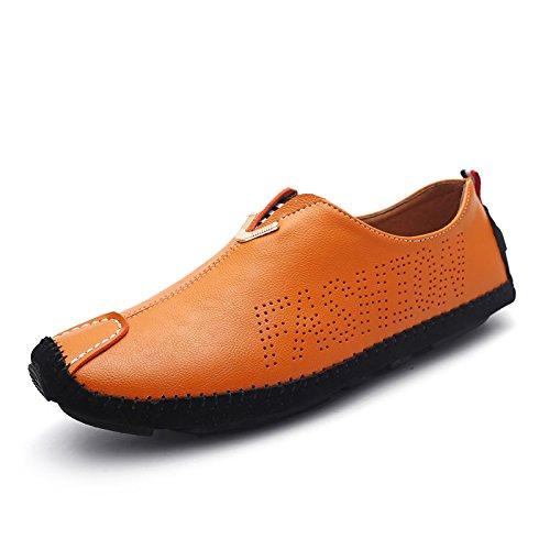 WZG zapatos ocasionales de los nuevos hombres de cuero guisantes un pedal calza los zapatos poner un pie de conducción del conductor perezosos de los hombres Orange