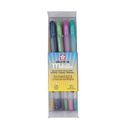Sakura 57369 16-Piece Gelly Roll Metallic Assorted Colors Cube Collection Gel Pen (Black Burgundy Hunter)