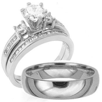 3 pieces mens womens his hers 925 sterling silver titanium engagement wedding - Sterling Silver Diamond Wedding Ring Sets