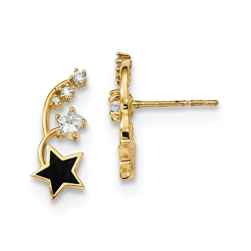 Gold Enameled Star - 14k Yellow Gold Enameled Cubic Zirconia Cz Stars Post Stud Earrings Ear Climber Fine Jewelry Gifts For Women For Her