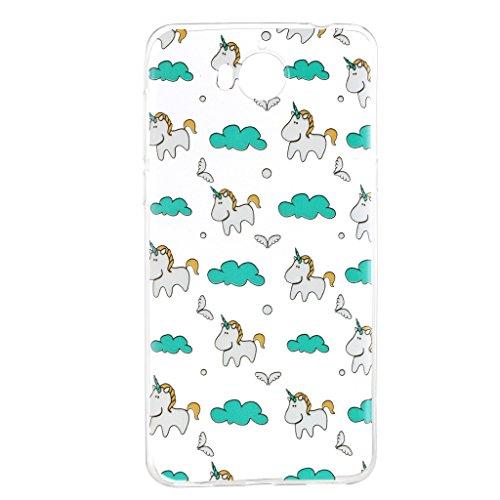 Cover para HuaWei Y5 2017 / Y6 2017 , WenJie Unicornio Transparente Color sólido TPU Silicona Suave Funda Case Tapa Caso Parachoques Carcasa Cubierta para HuaWei Y5 2017 / Y6 2017 HX55