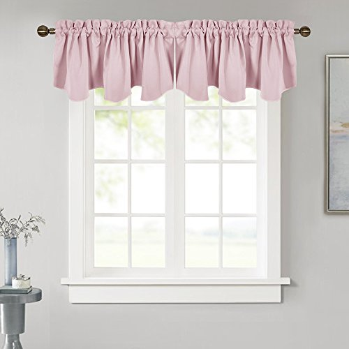 (NICETOWN Bedroom Blackout Valance Tier - 52-inch by 18-inch Scalloped Rod Pocket Valance Window Curtain for Girls' Room, Lavender/Baby Pink, 1 Pack)