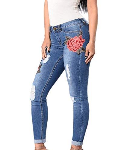 Flacos Rotos Ropa Vaqueros 3 Solo Las Pecho Pantalones De Desgastados Muster Un Mezclilla Elásticos Florales Bordados Mujeres Hqxgf