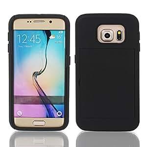 Choque soporte Prueba Kickstand Negro Funda para el Galaxy S6 G9200