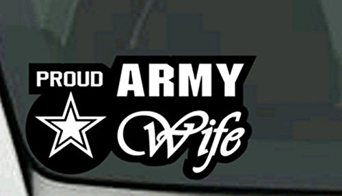 1-Pc Majestic Unique U.S. Proud Army Wife Sticker Sign Military Outdoor Vinyl Cars Automotive Decor Bike Patches Decals Truck Bumper Wall Hoverboard Window Graphics Macbook Laptop Stickers Size 6'x3'