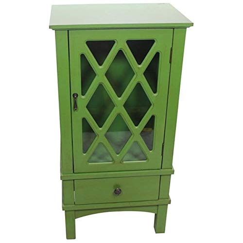 Heather Ann Creations The Cottage Collection Modern Style Wooden Living Room Single Door and Drawer Accent Cabinet with Glass Lattice Inserts, Off White