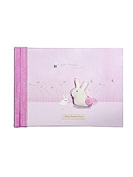 Álbumes de recuerdos Libro de recuerdos de bebé con dibujo de conejito en tonos rosas para regalar a bebé recién nacido en su bautizo TEXT IN ...