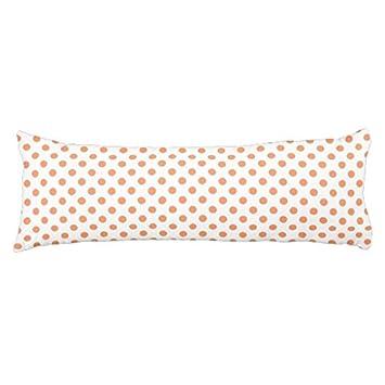 Long Throw Body Pillow Covers 20 x 54 Tangerine Orange Polka Dots Decorative Pillow Cases Throw