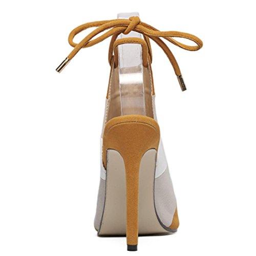 YCMDM dell'estate New Beach Donne sandali arcobaleno Belle Con bocca dei pesci scarpe comode Colore , brown , 36