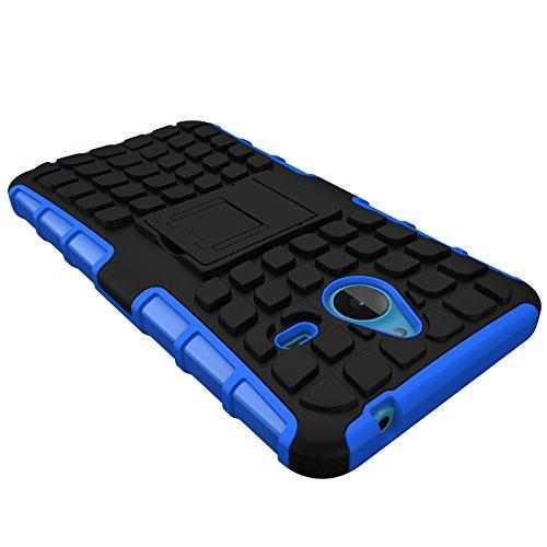Lumia 640 XL Funda Case, Moonmini® Neumáticos raya híbrido combinado de alto impacto resistente a prueba de golpes Defensor cubierta de la caja con pata de cabra para Nokia Lumia 640 XL - Negro / Blac