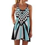 Womens Summer Dress Sleeveless Boho Geometric Print Mini Tank Dress Plus Size Beach Casual Sundress Short Dress (Light Blue, S)