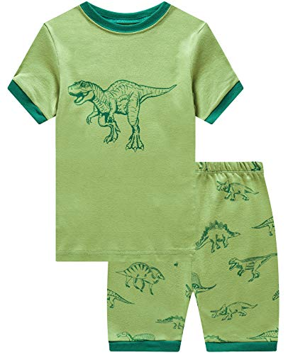 (Boys Short Pajamas Dinosaur Pjs Toddler Pjs Clothes Kids Sleepwear Summer Shirts Size 5)