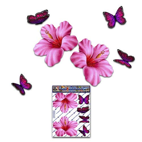 JAS Stickers Hibiscus Flower/Butterfly CAR Decals - Pink - Small Tropical/Animal Vinyl Stickers Pack for Laptop Caravans Trucks & Boats - ST00023PK_SML