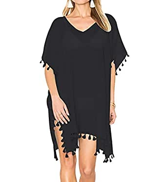 Bestyou Women's Fringe Sheer Chiffon Swimsuit Cover up Tunic Solid Color Beachwear Free Size (Black)